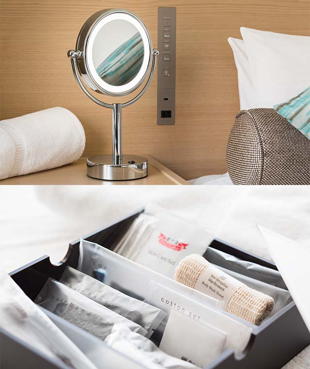 Room amenities and magnifying makeup mirror
