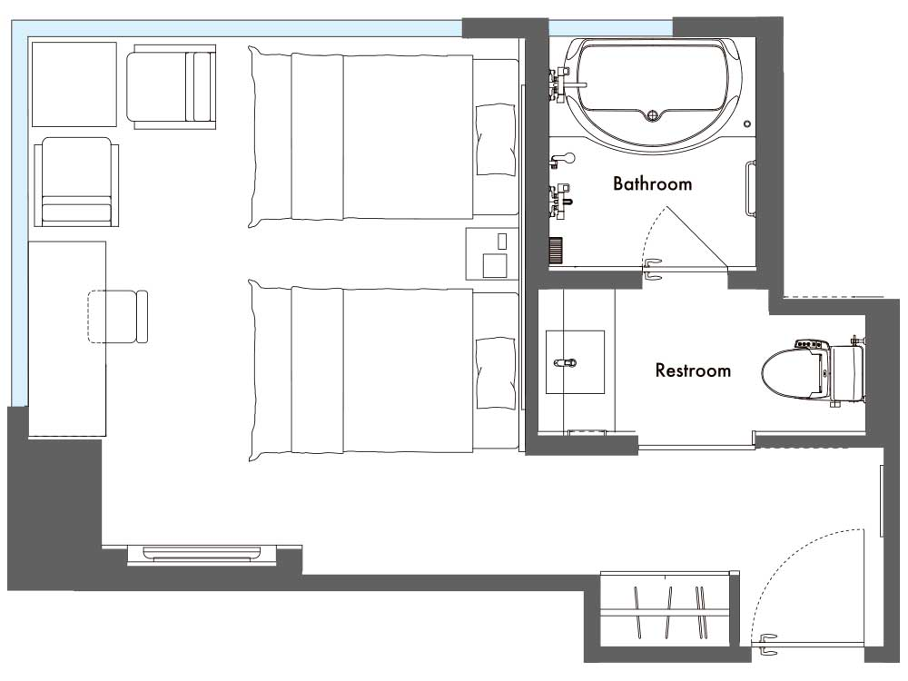 layout drawing of EXECUTIVE CORNER TWIN 30sqm